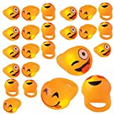 Kicko Flashing Rings Emoji Icons, LED Emoticon Light-up Rings Pack of 24 - Novelty and Gag Toys, Party Favor, Bag Stuffer, Gifts