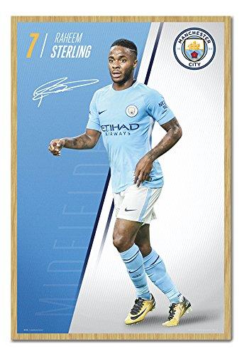Manchester City Sterling 2017 2018 Season Poster Kork Pinnwand Buchenholz-Rahmen, 96,5 x 66 cm (ca. 96,5 x 66 cm)