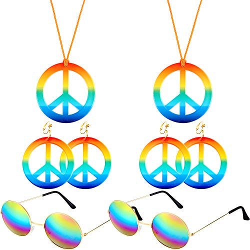 6 Pieces Hippie Costume Set, Include 2 Pieces Rainbow Color Hippie Peace Sign Necklace 2 Pairs Peace Earrings and 2 Pieces Hippie Round Glasses for Hippie Dressing Accessory Set Party ()