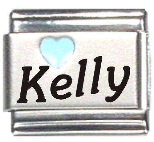 - Kelly Light Blue Heart Laser Name Italian Charm Link