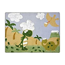 Joy Carpets Kid Essentials Infants & Toddlers Dino Fun Rug, Multicolored, 3\'10\