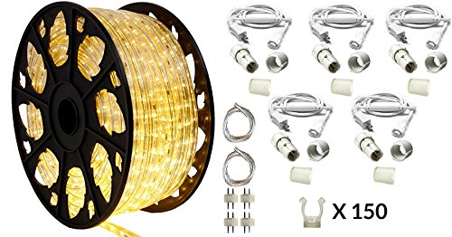 AQL 150' Outdoor Rated LED Rope Light Kit - 120V - UL Listed (Warm White, Deluxe) ()
