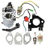 Carburetor with Insulator Oil Sensor for Generac GP5000 GP5500 GP6500 GP6500E GP7500E 389cc 8125W 0J58620157 Jingke Huayi Kinzo Ruixing 13HP 14HP 15HP 16HP 188F 190F Portable Generator