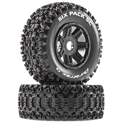 Duratrax Six Pack SC Mounted Soft Tires, Black 17mm Hex (2), DTXC5271
