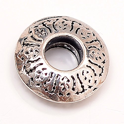 RUBYCA 50pcs Tibetan Silver Tone Spacer Beads Fit European Charms Bracelet Flat Ring