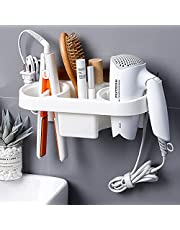 Wall Mounted Hair Dryer Holder, Self Adhesive No Drilling, Multi-Functional Space Saving Storage Bathroom with Socket Buckle, Hair Dryer/Toothbrush/Cosmetic/Curling Iron (White)