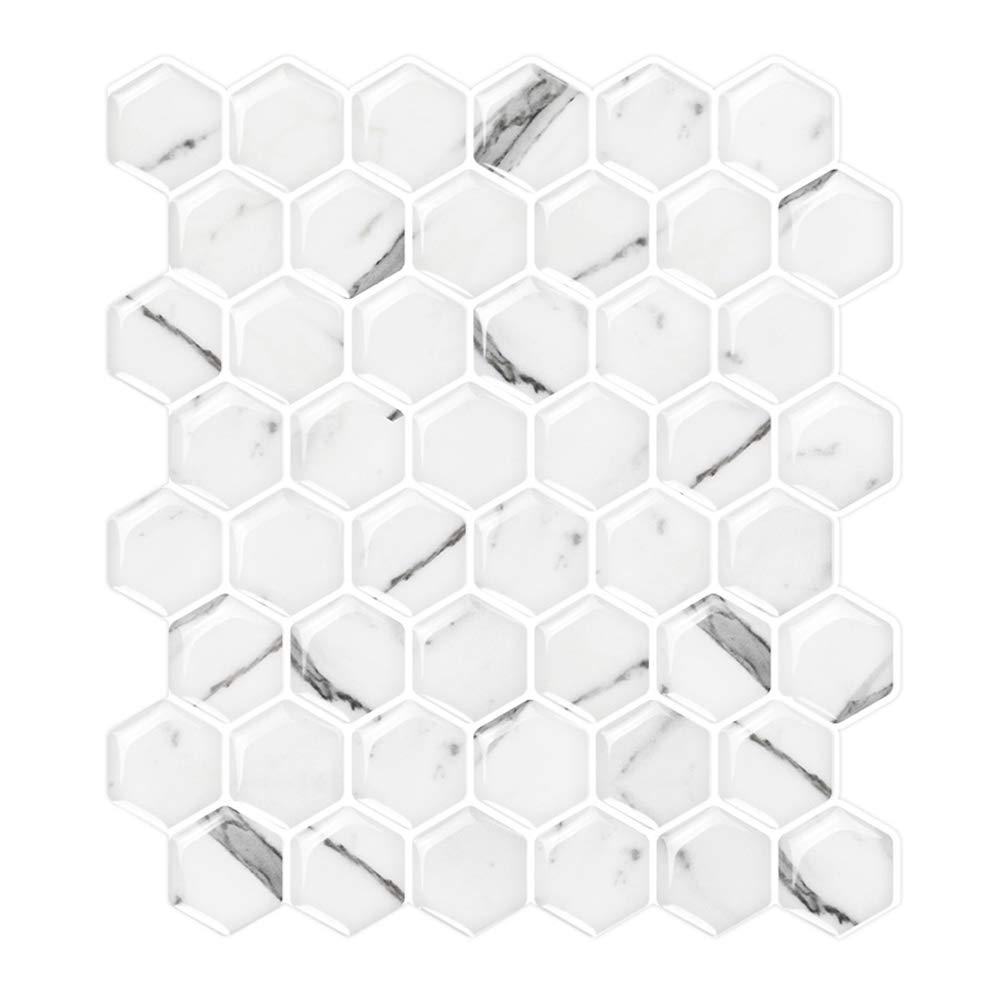 STICKGOO White Marble Peel & Stick Tile Backsplash, Hexagon Mosaic Tiles, Kitchen and Bathroom Backsplash Tile (Pack of 5, Thicker Design)