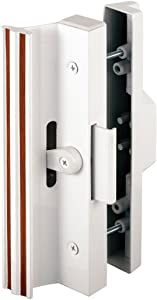 Slide-Co 141845 Sliding Patio Door Handle Set, 4-15/16 in., Extruded Aluminum, Clamp Latch, White w/Wood Grain