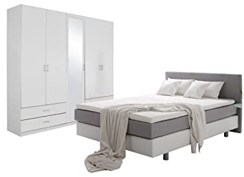 Schlafzimmer Komplett Set weiss mitt Boxspringbett mit Schrank weiss ...
