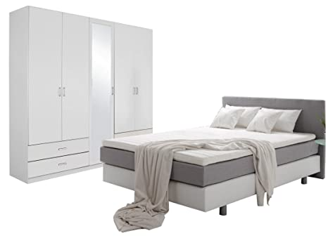 Unbekannt Schlafzimmer Komplett Set Weiss mitt Boxspringbett ...