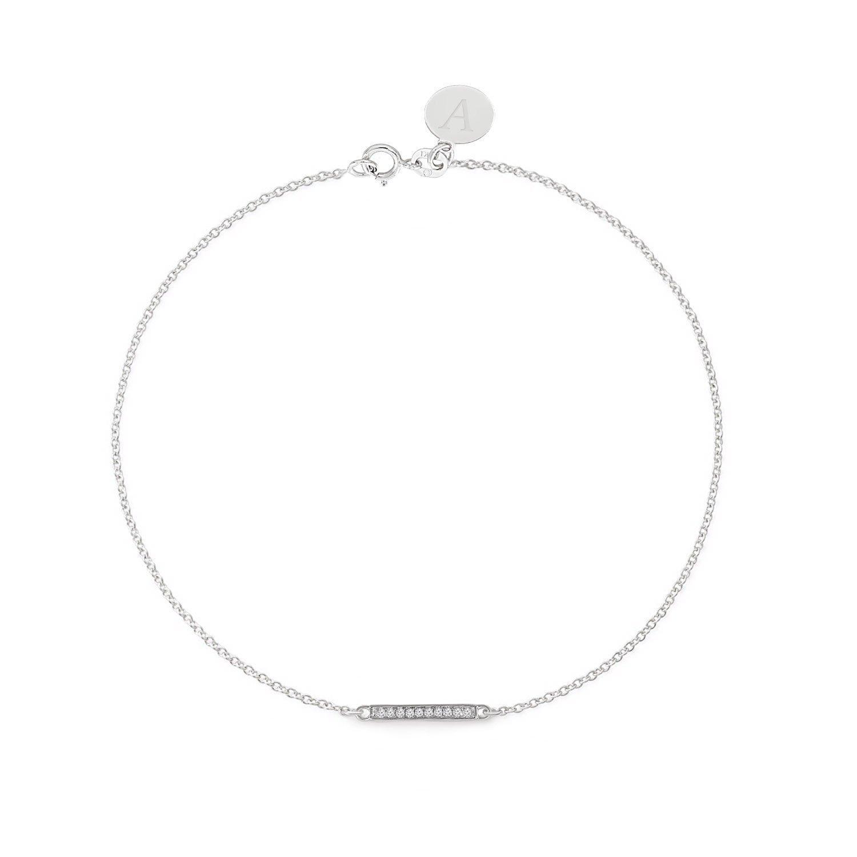 White or Rose Gold Solid 14K Gold Diamond Engravable Bar Bracelet Real 14k Yellow Real Diamond Women Bracelet