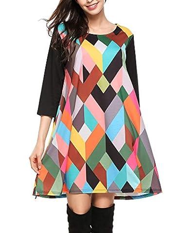 Elesol Women's Geometric Pattern 3/4 Sleeve Loose Fit Tunic Dress Black S (Dresses With Geometric Pattern)