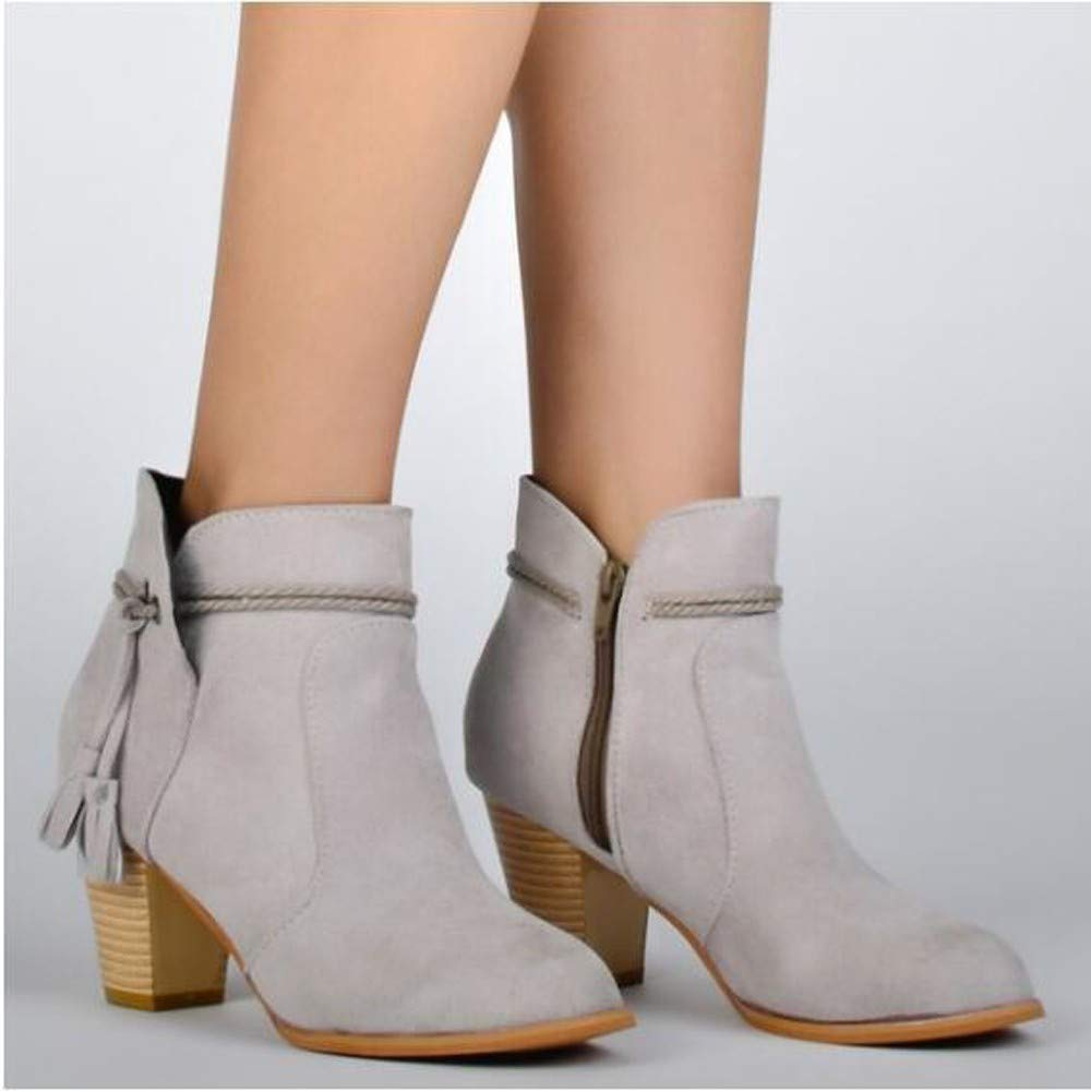 Schuhe Stiefel Damen Mode, Damenstiefel Runde Toe High Thick Thick Thick Stiefeletten Seitlichem Reißverschluss Quaste Ankle Stiefel Kurze Stiefel Outdoor (Farbe   Grau, Größe   CN 38=EU 39) b33c8a