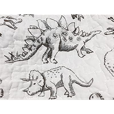 Cozy Line Home Fashions Benjamin Cute Dinosaur Plaid Printed Pattern Navy Blue White Grey Bedding Quilt Set 100% Cotton Reversible Coverlet Bedspread Set for Kids Boy(Twin - 2 Piece): Home & Kitchen