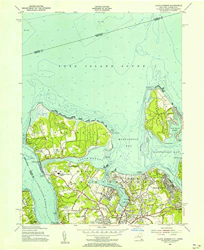 YellowMaps Lloyd Harbor NY topo map, 1:24000 Scale, 7.5 X 7.5 Minute, Historical, 1954, Updated 1956, 26.9 x 22 in - Paper -