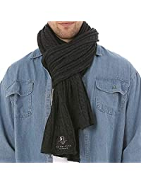 FORBUSITE Men Cable Knit Scarf for Winter Extra Long Grey