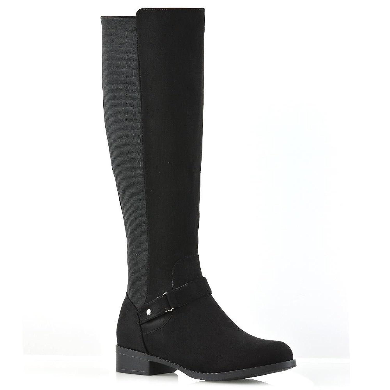 e2acc9d5cf01 New Womens Flat Low Heel Knee High Ladies Zip Buckle Stretch Leg Calf Boots  Size