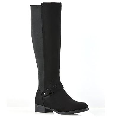 e631827939a ESSEX GLAM Womens Knee High Boots Elasticated Calf Leg Flat Low Heel Biker  Riding Style
