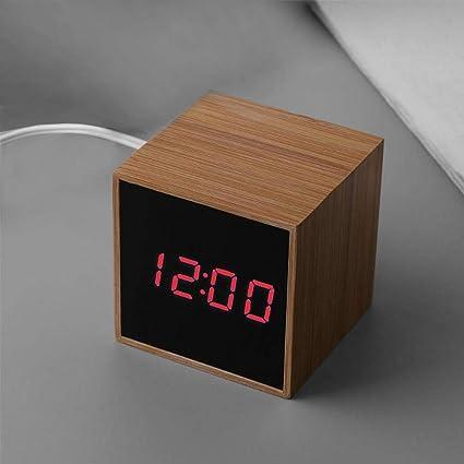 ParZ Reloj Multifuncional con Alarma LED Bambú de Madera Control de Temperatura Pantalla LED Reloj Digital