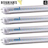 4-Pack of Hyperikon T8 LED Light Tube, 4ft, 18W (36W equivalent), 5000K (Crystal White Glow), Single Ended Power, Clear 1 Line, UL-Listed & DLC-Qualified [4 Tombstones Included]