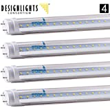 4-Pack of Hyperikon T8 LED Shop Light Tube, 4ft, 18W (36W equivalent), 4000K (Daylight Glow), Single-Ended Power, Clear Cover, G13 Lighting Fixtures, UL-Listed & DLC-Qualified [Tombstones Included]