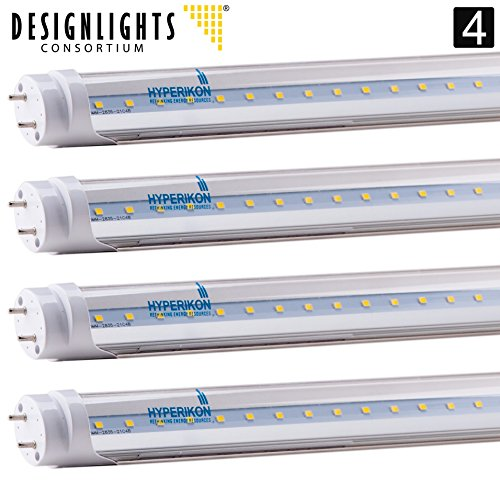 4-Pack of Hyperikon T8 LED Light Tube, 4ft, 18W (40W equivalent), 5000K (Crystal White Glow), Single Ended Power, Clear 1 Line, UL-Listed & DLC-Qualified [4 Tombstones Included]