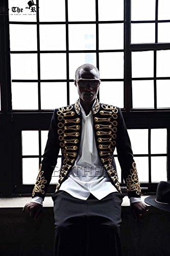 Pizoff Men's Luxury Gold Slim Fit Stylish Suit Blazer Jacket Long Sleeve Formal Dress AD001-03-S by Pizoff (Image #7)