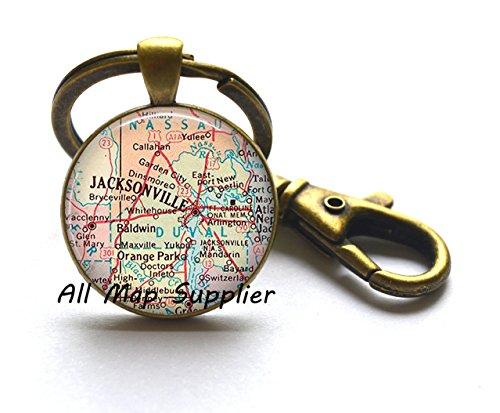 Charming Keychain,Jacksonville, Florida map Key Ring, Jacksonville map Keychain, Jacksonville Key Ring, Jacksonville Keychain,AO168