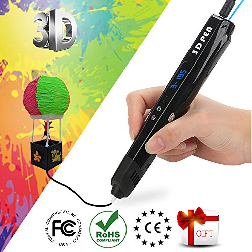 3D Printing Pen for Kids,Uvital 3D Drawing Doodler Pen with LED Display and Model Making Arts and Crafts for Drawing Doodling Painting with PLA Material and USB Power Supply(Black)