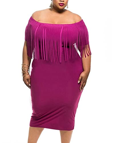 Gloria&Sarah Women's Fringe Top Tassel Bodycon Plus Size Off Shoulder Dress