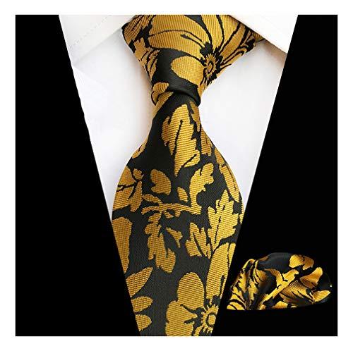 MOHSLEE Mens Yellow Black Floral Silk Tie Necktie Handkerchief Pocket Square Set
