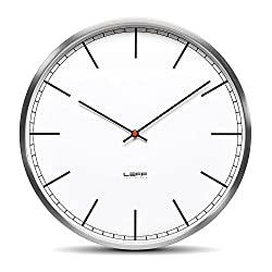 Leff Amsterdam One45 Wall Clock Color: Stainless Steel/White, Type: Index