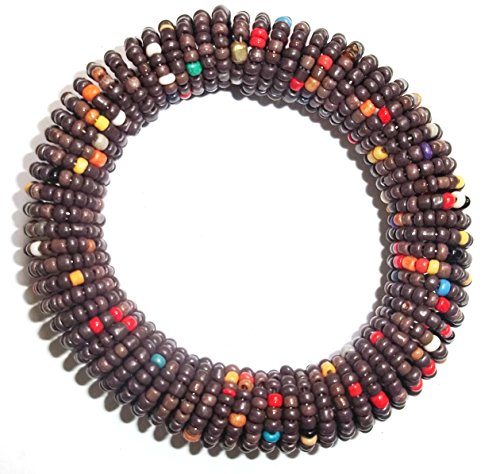 Very latest hand made spiral coiled adjutable brown glass seed beads brown multi color bracelet (Glass Spiral Bracelet)