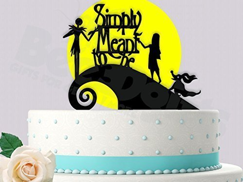 Jack and Sally Simply Meant To Be With Yellow Moon Wedding Cake Topper ()