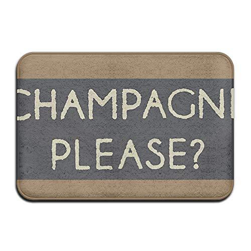 Champagne Please Delight Front Door Mat Large Outdoor Indoor Entrance Doormat Home - Waterproof Low Profile Door Mats Stylish Welcome Mats Garage Patio Snow Scraper Front Doormats