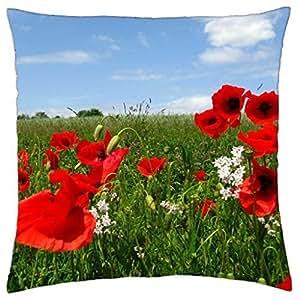 Hermosa amapolas en el prado–Manta funda de almohada (16
