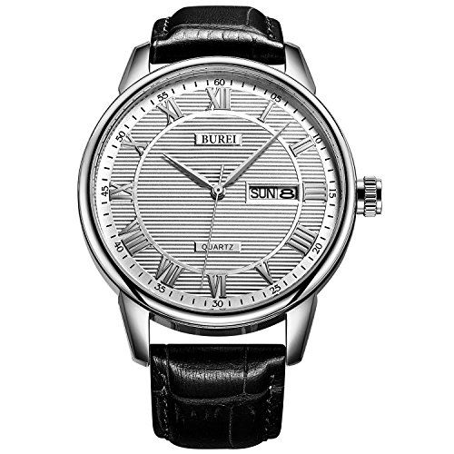 Quartz Day Date Watch (BUREI Mens Quartz Watches Day Date Dress Wrist Watch White Dial with Silver Roman Numeral Hand Black Leather Strap)