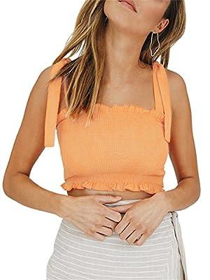 BerryGo Women's Sexy Ruffle Strap Tank Top Dot Camis Boho Print Crop Top