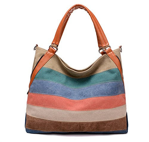 Large Leather Hobo Pleated (DRF Women's Fashion Hobo Handbag Striped Casual Large Tote Bag BG-130 (3))