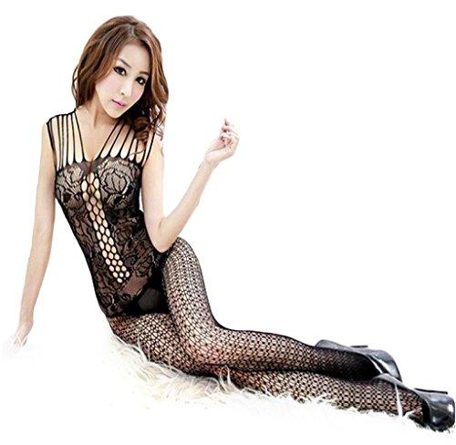 Tenworld Woman Sexy Open Crotch Mesh Fishnet Bodystocking Stocking Lingerie (Black)