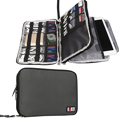 BUBM Double Layer Travel Gear Organizer / Electronics Accessories Bag / Phone Charger Case, Fit for iPad/iPad Mini/iPad Air (Large, Gray)
