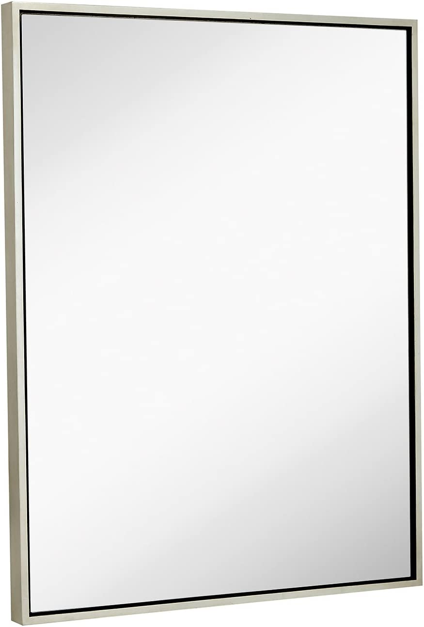 """Clean Large Modern Antiqued Silver Frame Wall Mirror 30"""" x 40"""" Contemporary Premium Silver Backed Floating Glass Panel 