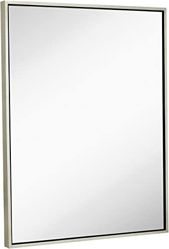 Hamilton Hills Clean Large Modern Antiqued Silver Frame Wall Mirror 30″ x 40″ Contemporary Premium Silver Backed Floating Glass Panel Vanity or Bathroom Mirrored Rectangle Hangs Horizontal or Vertical