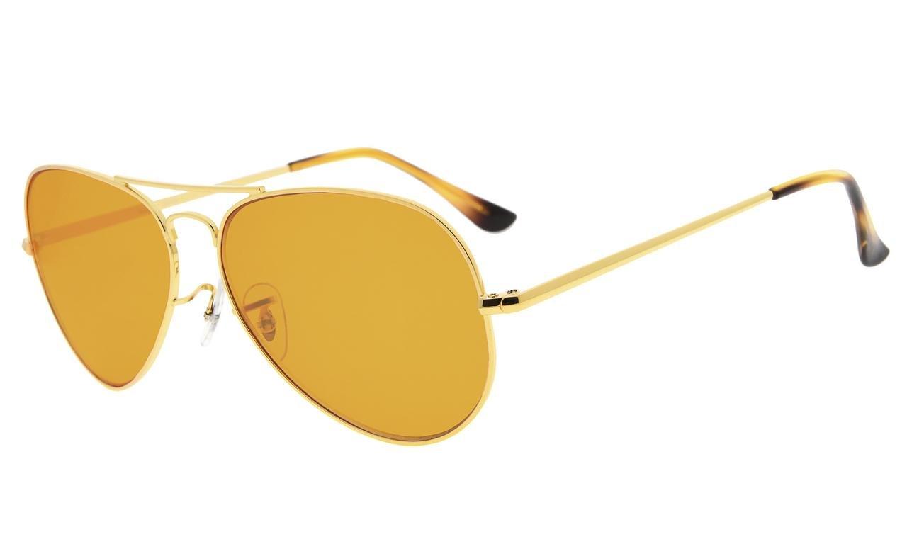 Eyekepper Pilot Style 97% Blue Blocking Reading Glasses,Dark Orange Lens with Anti Reflective Coating Computer Readers (Gold,+0.00) by Eyekepper