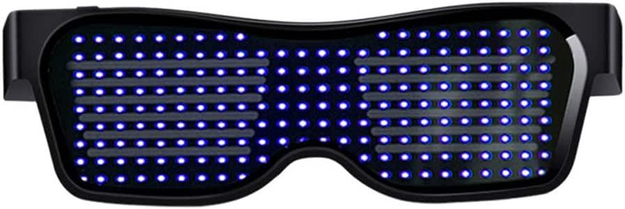 OYJJ Óculos brilhantes de LED, Óculos Bluetooth Óculos de Decoração de Atmosfera Óculos Engraçados APP Editor de Plástico Graffiti Festa