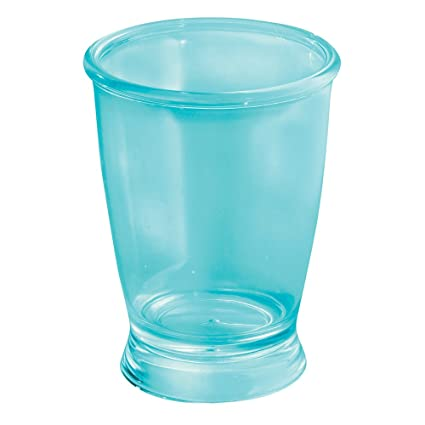 InterDesign Franklin Plastic Tumbler Cup For Bathroom Vanity Countertops    Aruba Blue
