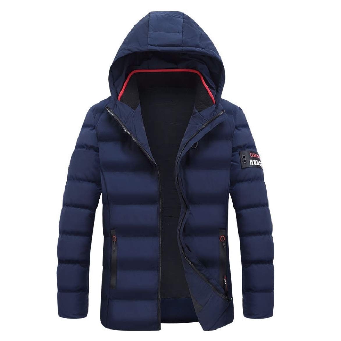 Abetteric Mens Windproof Casual Plus Size Hooded Warm Down Parka