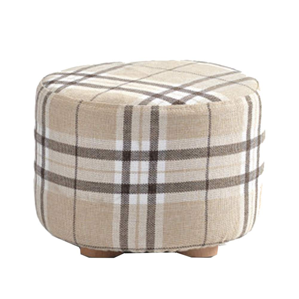 C 2029CM Stool Coffee Table Stool Solid Wood Fabric Stool, Washable, Kitchen Bedroom Living Room,B,20  29CM
