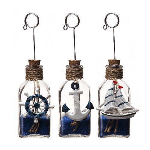 V-More Square Clear Glass Bottle Memo Photo Note Card Clip Holder with Blue Sand Shell Inside and Ocean Ornaments on Jute Rope 4.33 inch Tall for Wedding Table Home Desk Decor