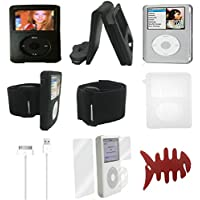Aiboco 8 item Accessory kit for iPod Classic Leather Flip Case Armband Silicone Skin Transparent Hard Case Charging Cable Screen Protector 160GB 120GB 80GB 30GB